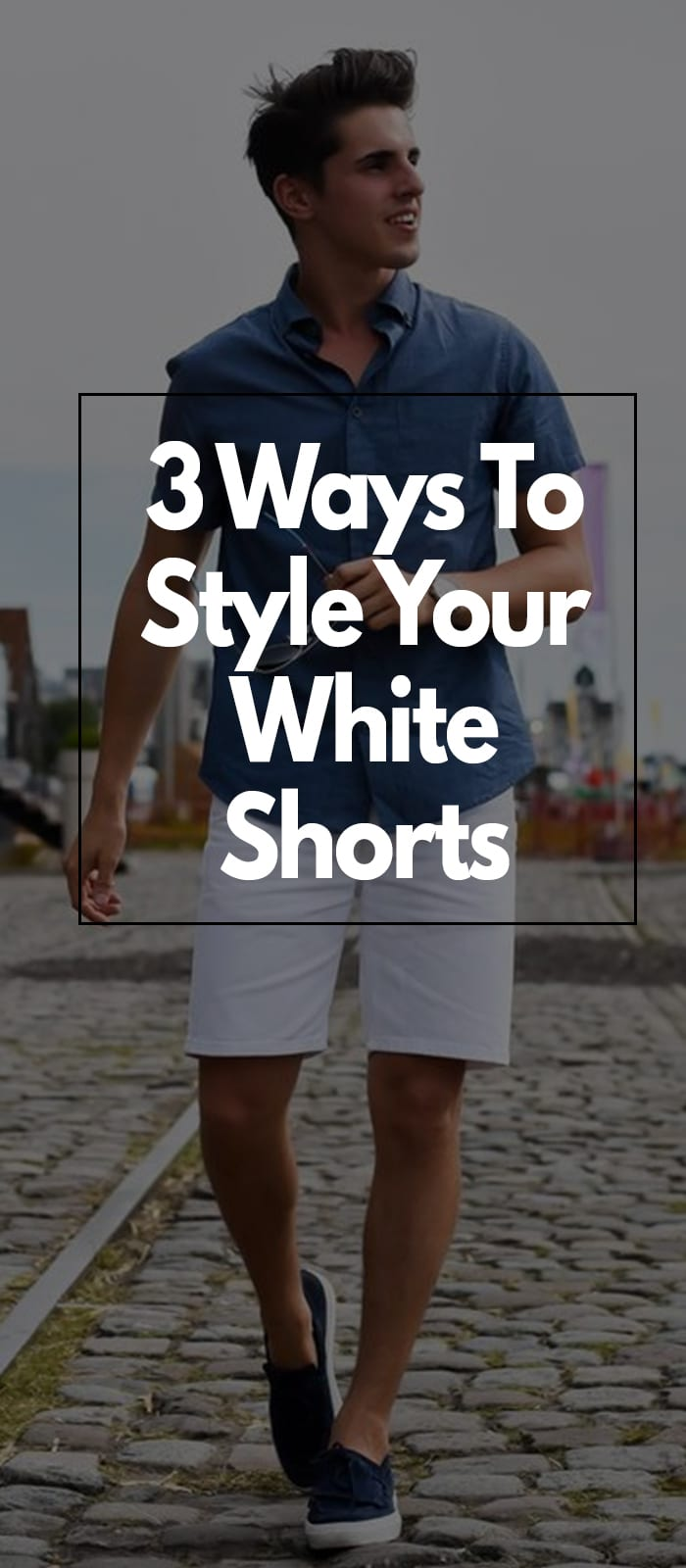 Blue shirt and white shorts for men to try