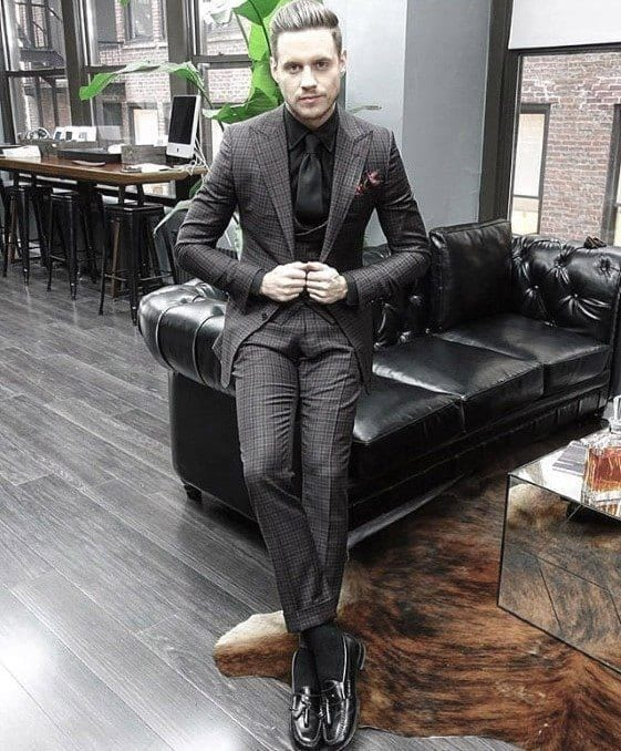 Charcoal Grey Lounge Suit,Black shoes,black shirt