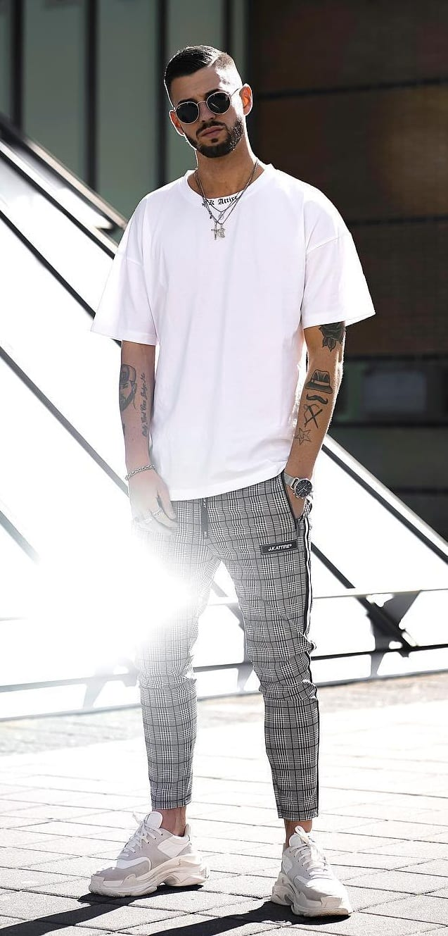 Cool Grey Plaid Joggers outfit