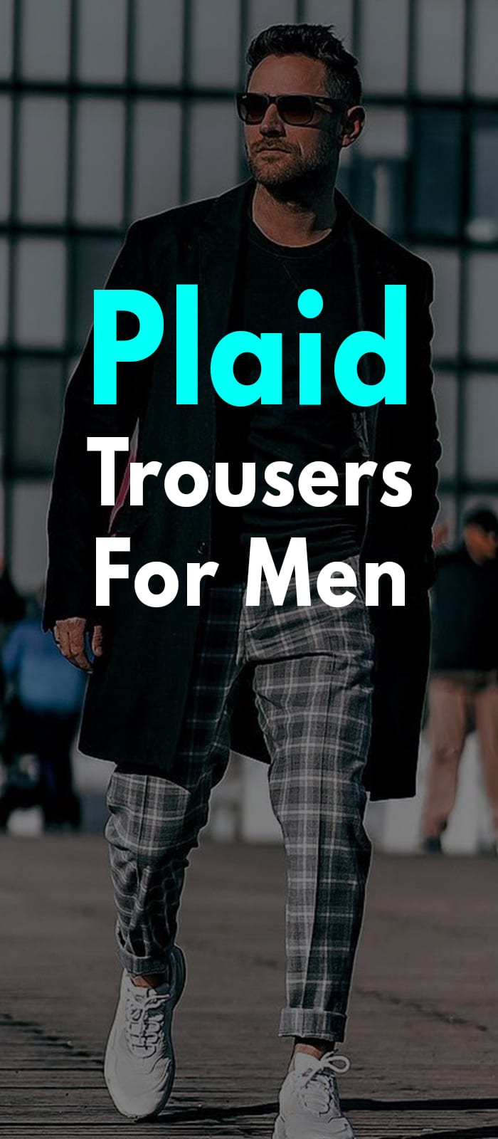 Grey plaid pant and Black overcoat outfit for men to try