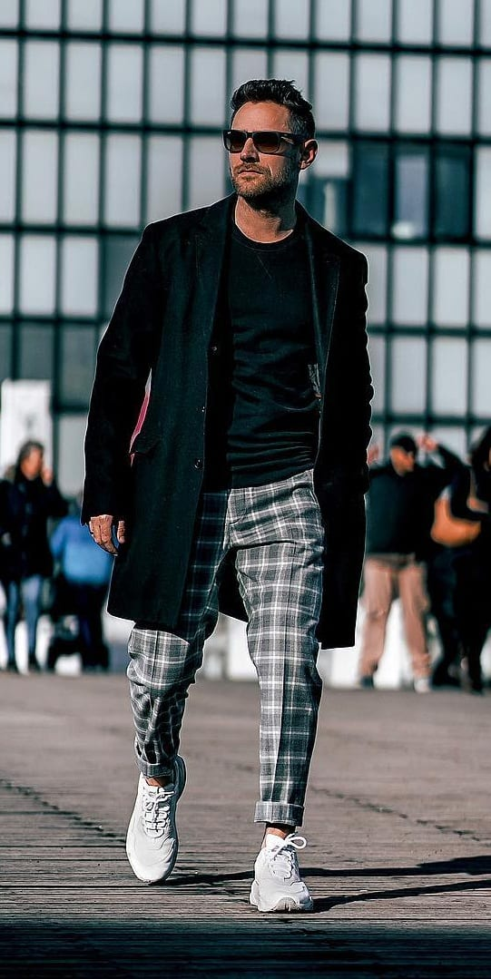 Grey plaid pant and Black overcoat outfit for men