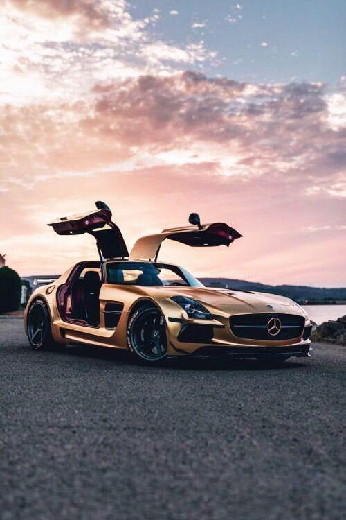 MERC SLS AMG GOLD LUXURY CAR