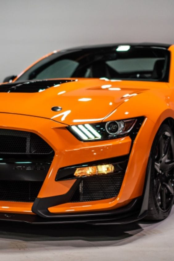 ORANGE SHELBY MUSTANG FRONTVIEW