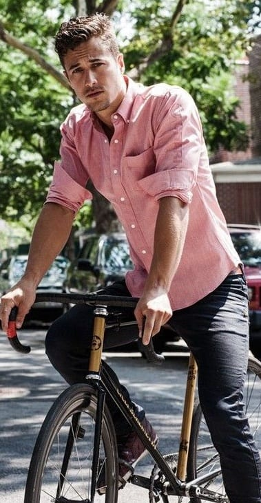 Salmon pink shirt and black jeans