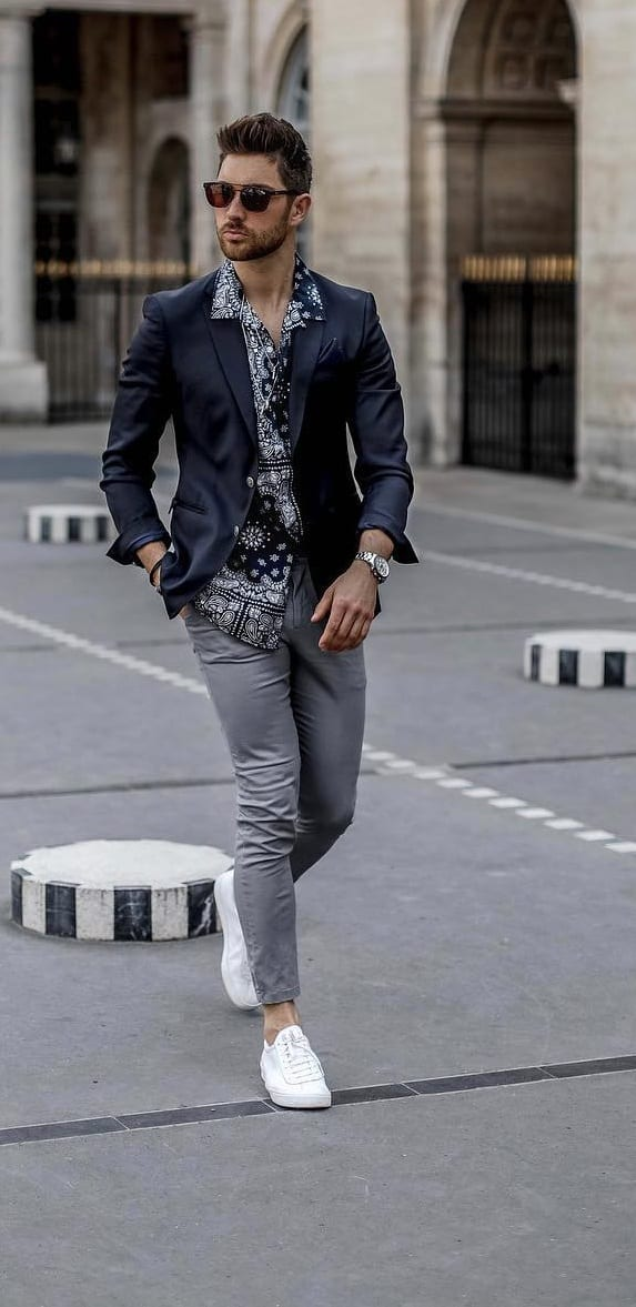 Semi Formal- Black Printed shirt with jacket and white sneakers