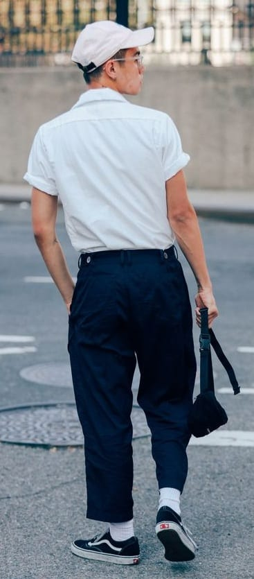 The classic white shirt and black cropped trousers for men