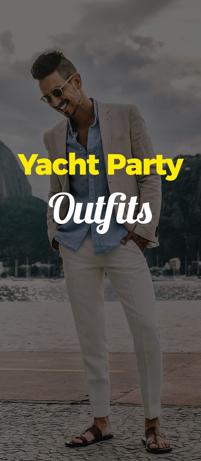 White chinos blue shirt and linen jacket outfit for yacht party