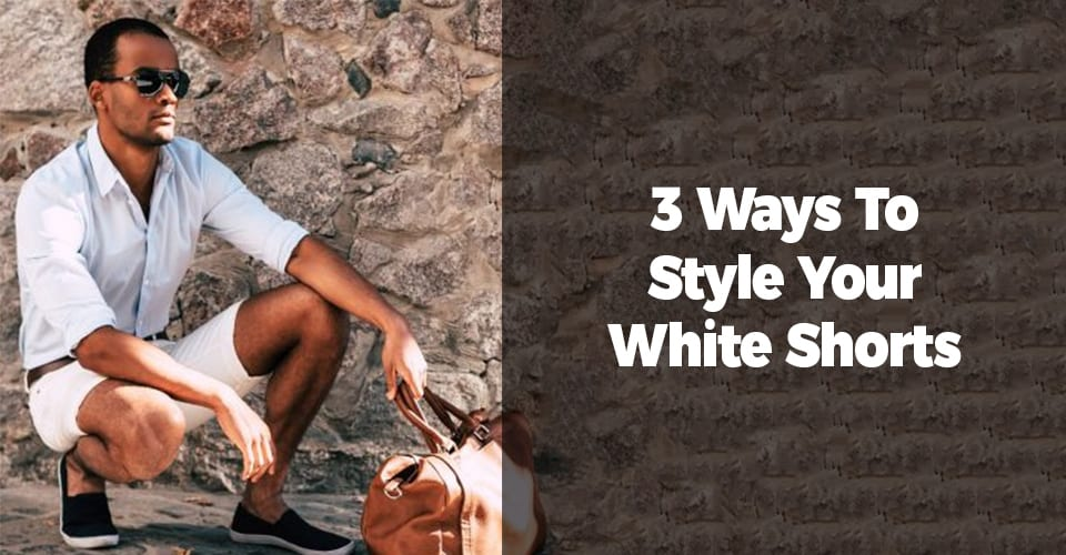 White shirt and white shorts and brown bag ideas for men
