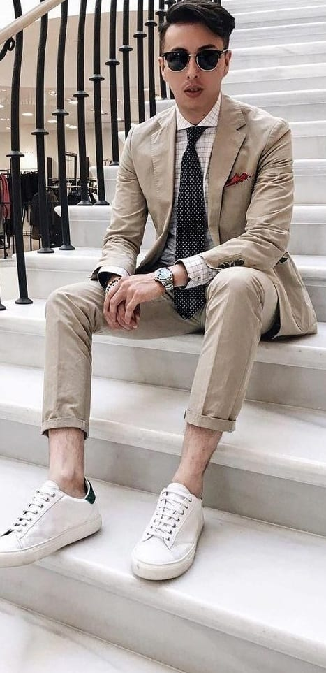 Beige suit with white sneakers for stylish men