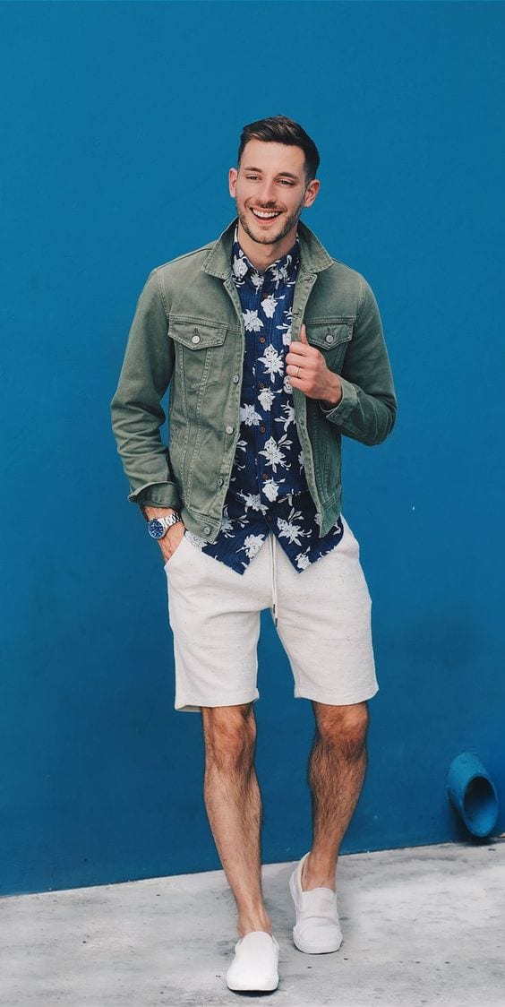 Blue Hawaiian shirt,green jacket and white shorts