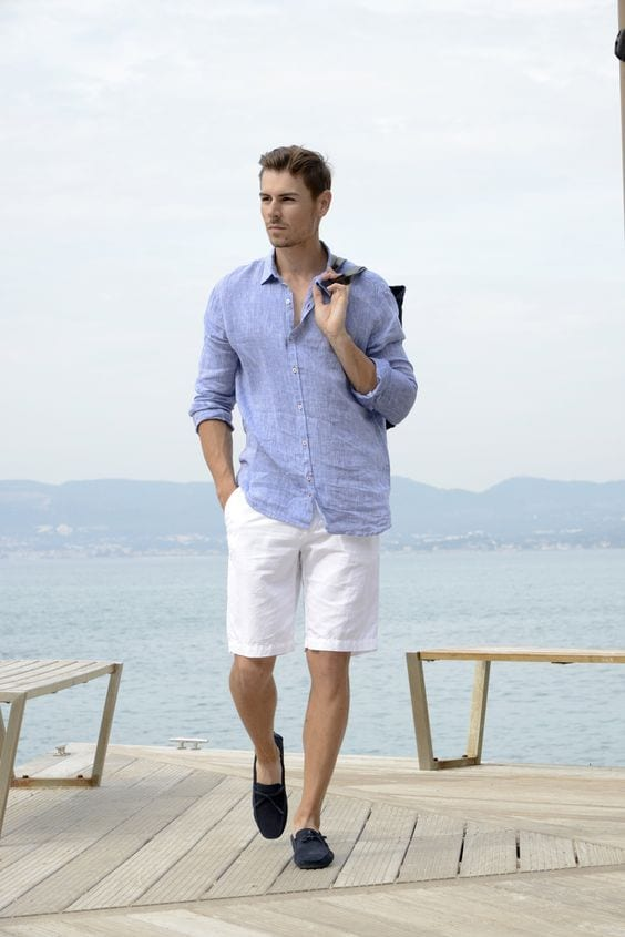 Blue linen shirt,white shorts and sunglasses