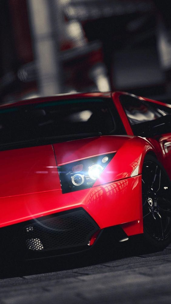 Lamborghini veneno red with white lights
