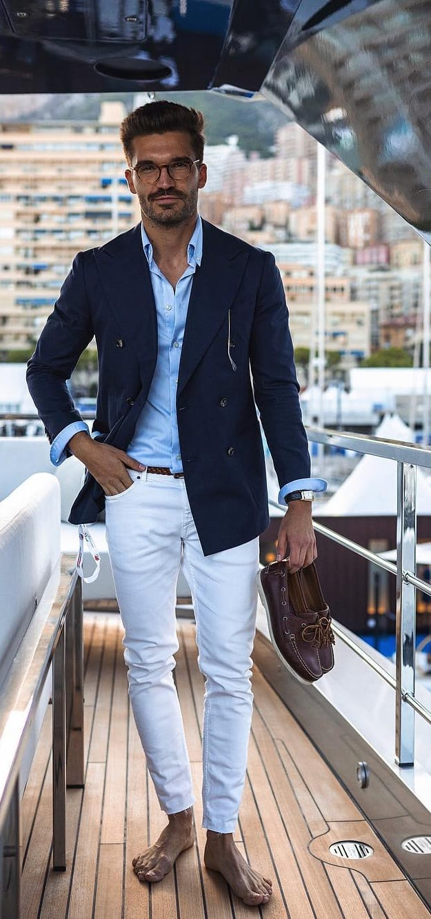 white pant blue linen and jacket