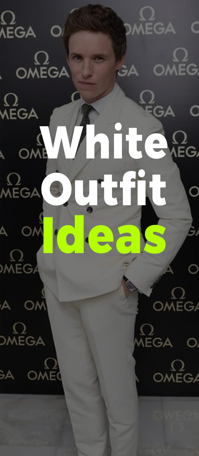Full white suit with black tie and loafers for men