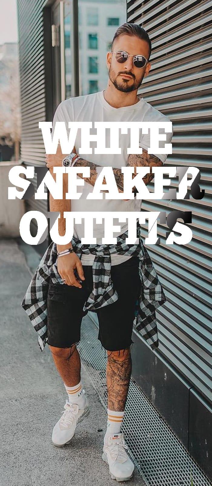 White T-shirt Black shorts,White sneakers