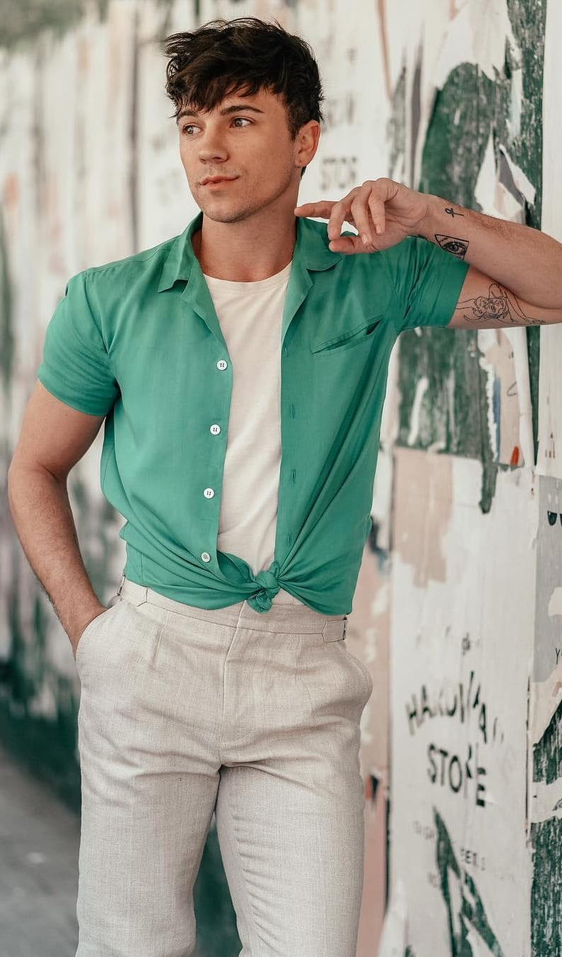 White Undershirt, Mint Green Shirt and Off-white Trousers