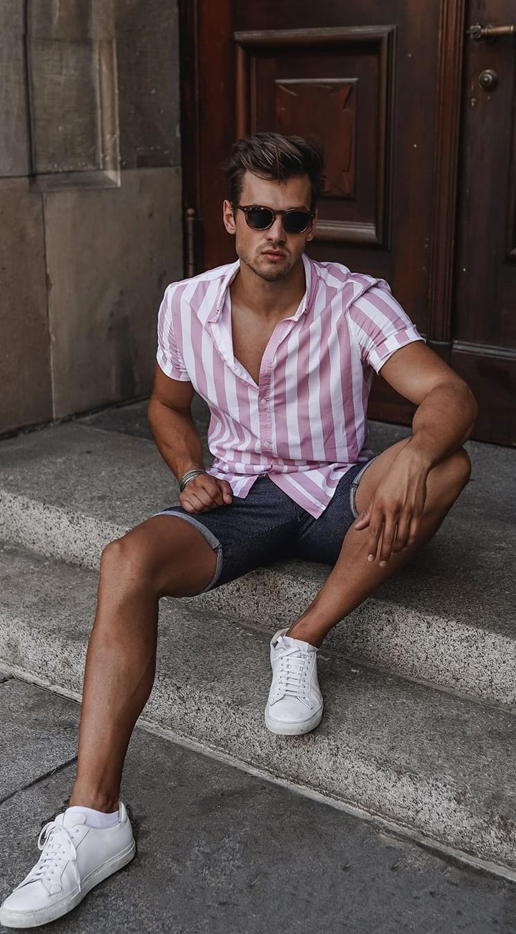 Baby Pink and White Vertical Striped Shirt Outfit
