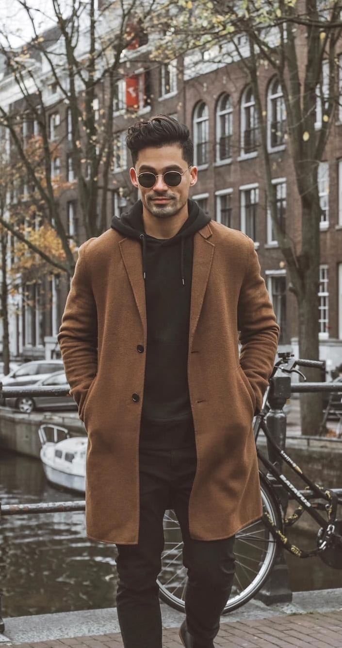 Black Hoodie, Brown Overcoat and Black Jeans- Street Style Outfit