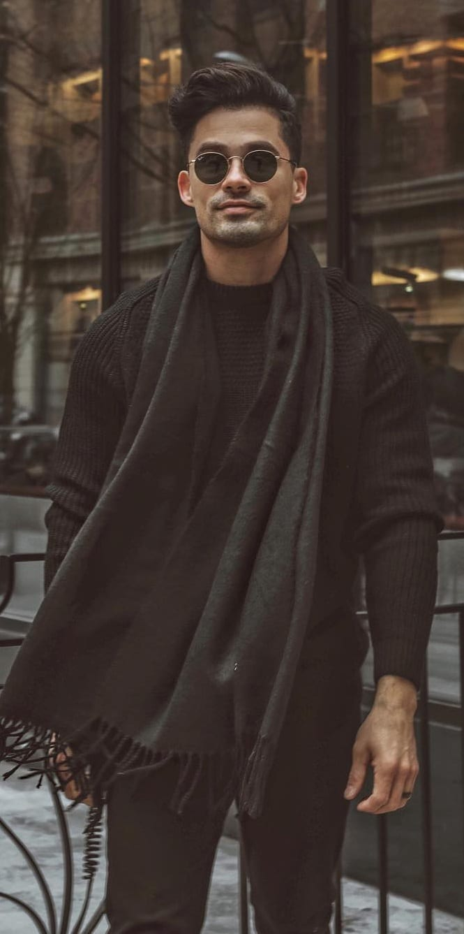 Black Scarf,Sweater and Trouser Outfit for men's Street Style