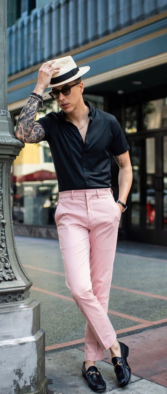 Black Shirt and Pastel Pink Chinos Outfit for men