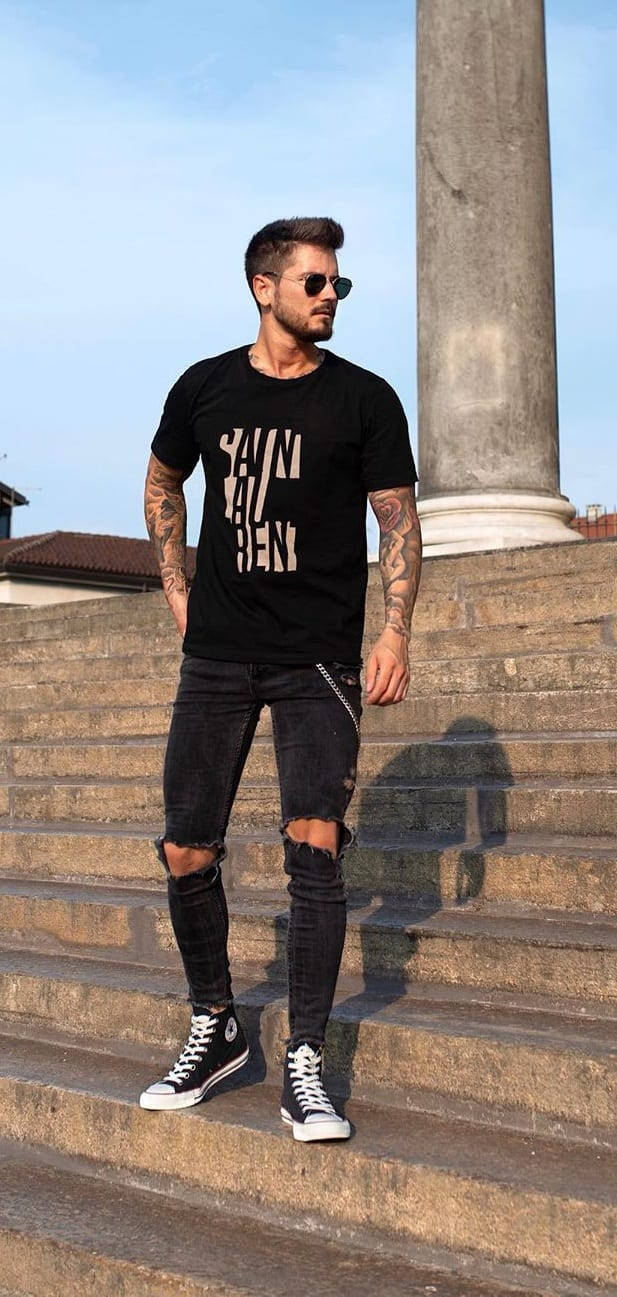 Black T shirt, Black Ripped Denims, Black Sneakers and Black Sunglasses-OOTD for men