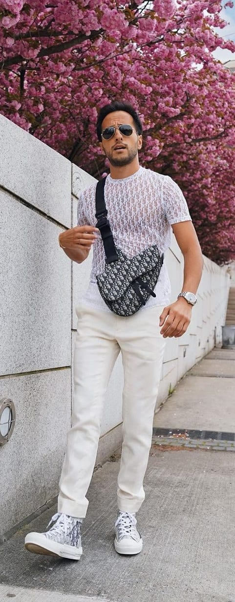Black and White Printed Sling Bag