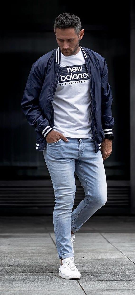 Blue Bomber Jacket, White T-shirt and Blue Jeans- OOTD for men