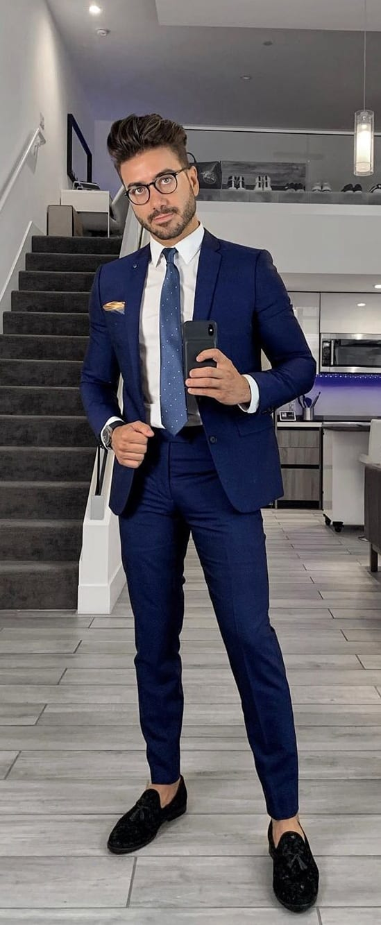 Blue Suit, Blue Tie and White Shirt outfit ideas