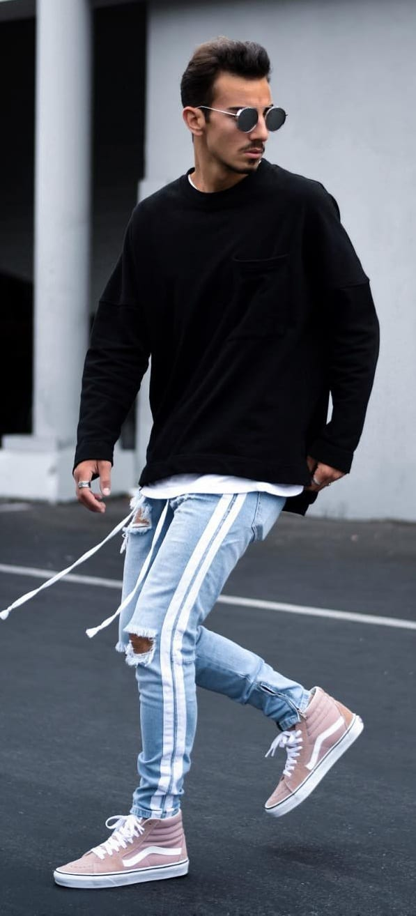 Cool Ripped Blue Joggers Outfit for men's street style