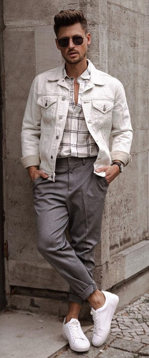 Cropped Trousers and Shirt and Jacket Outfits for Men Street style