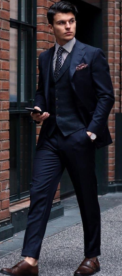 Dark Blue 3 Piece suit outfit ideas for men