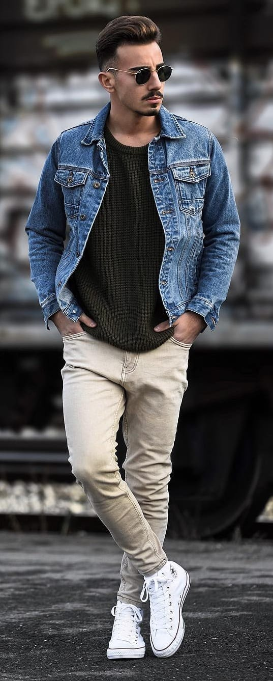 Denim Jacket, Black T-shirt and Chinos Outfit for men
