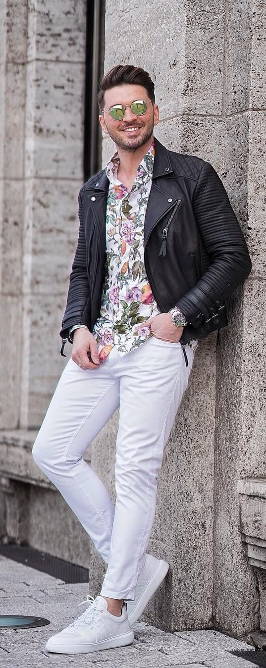 Floral Print Undershirt with Jacket Outfit for Mens Street Style
