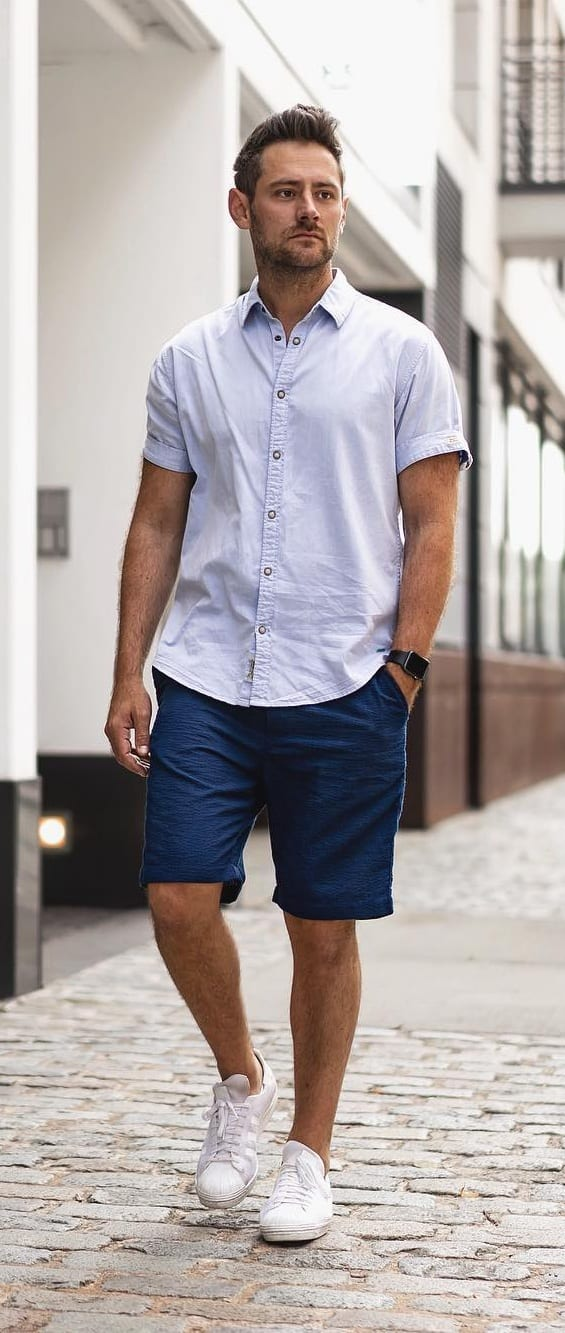 Lavender shirt and Blue Shorts Outfit