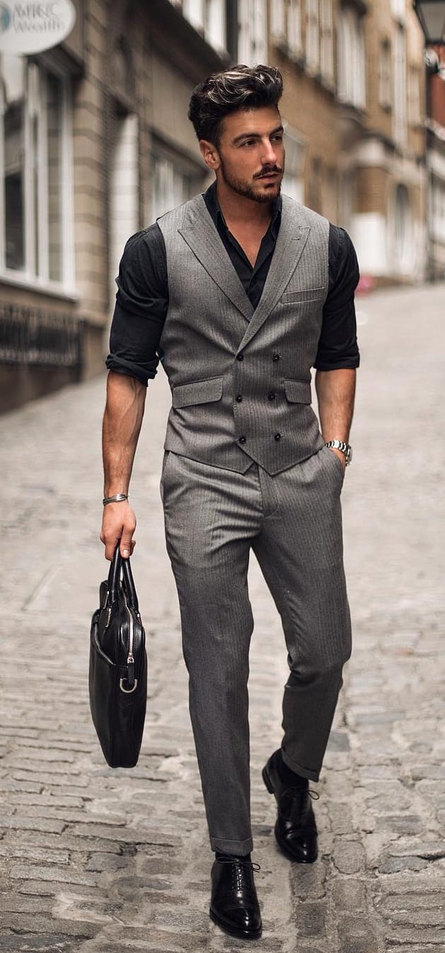 Black Shirt with Grey Waistcoat and Trousers