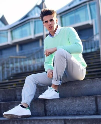 Mint Green Sweater, Undershirt and Chinos Outfit for men