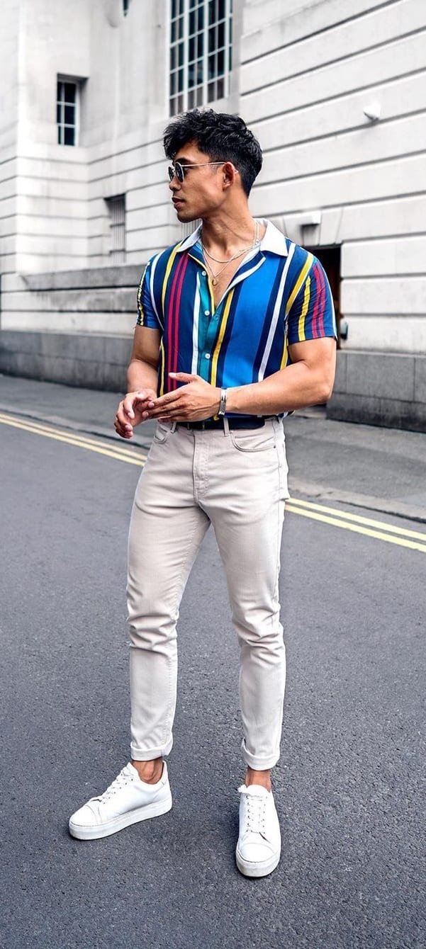 Multicolored Vertical Striped Shirt Outfit