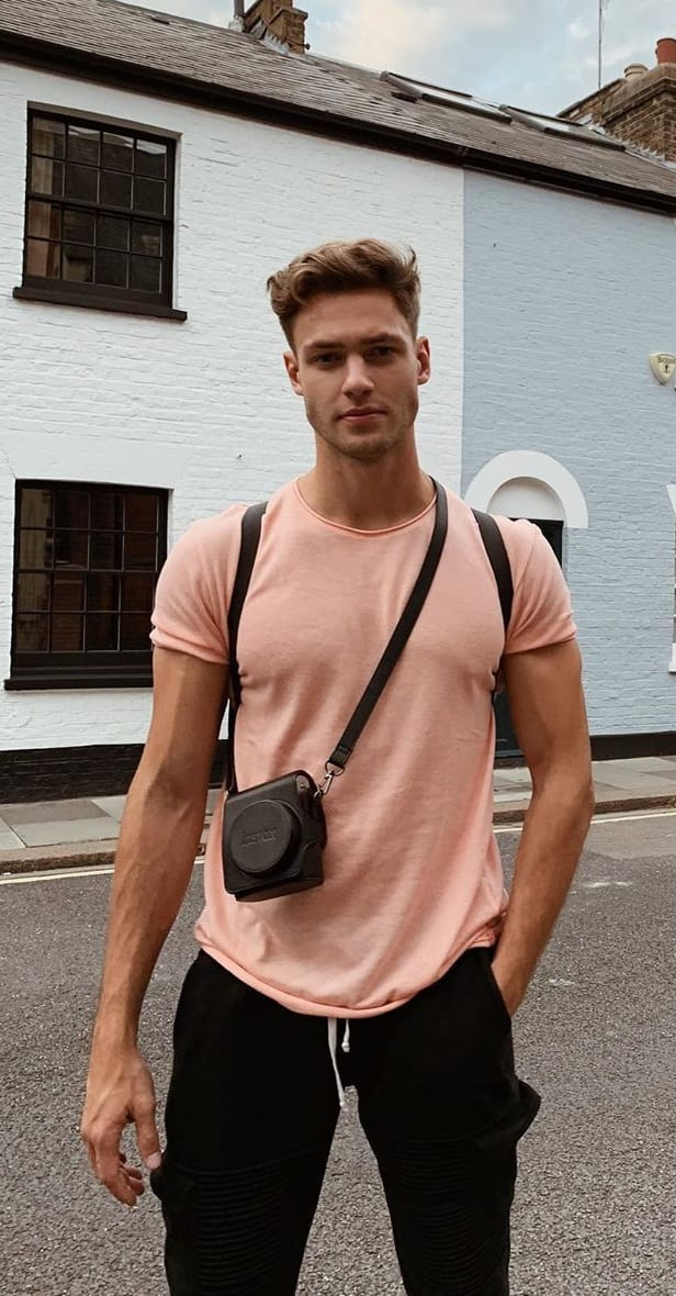 Pastel Peach T shirt and Black Joggers Outfit
