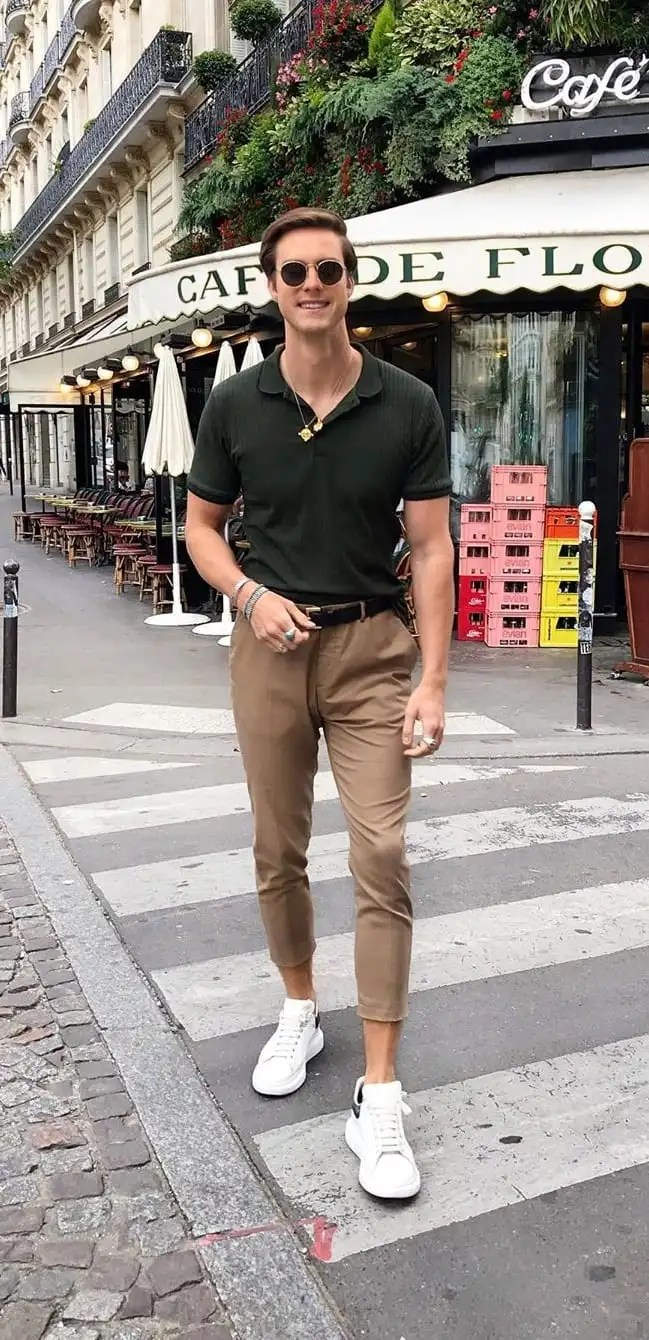 Polo T-Shirt, Chinos and White Sneakers- OOTD For Men