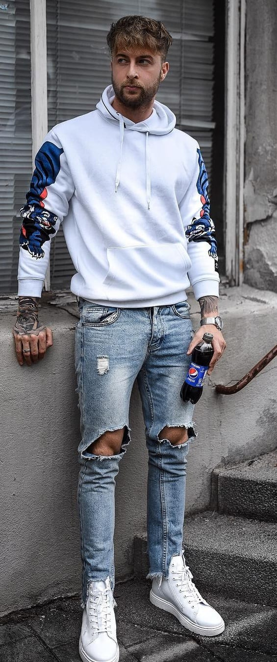 Printed White Hoodie Outfit-Street Style Fashion