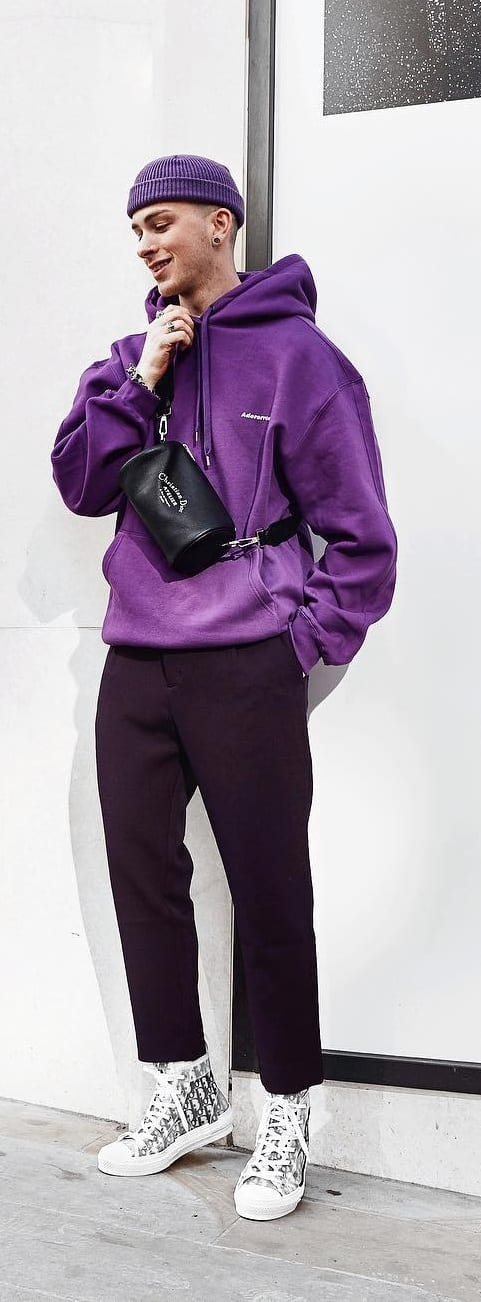 Purple Hoodie and Purple Beanie Outfit- Street Style Fashion
