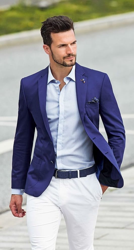 Royal Blue Blazer,Light blue shirt,White pant outfit for men