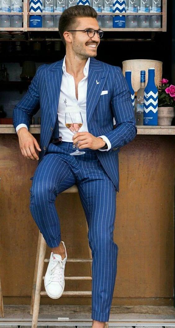 Striped Blue Suit Outfit ideas for men