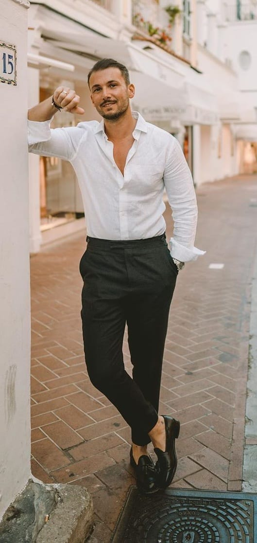 Vintage White Shirt Black Trouser Casual Outfit for men