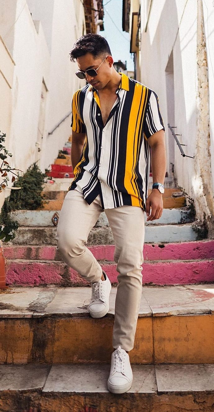 Yellow Black and White Vertical Striped Shirt Outfit