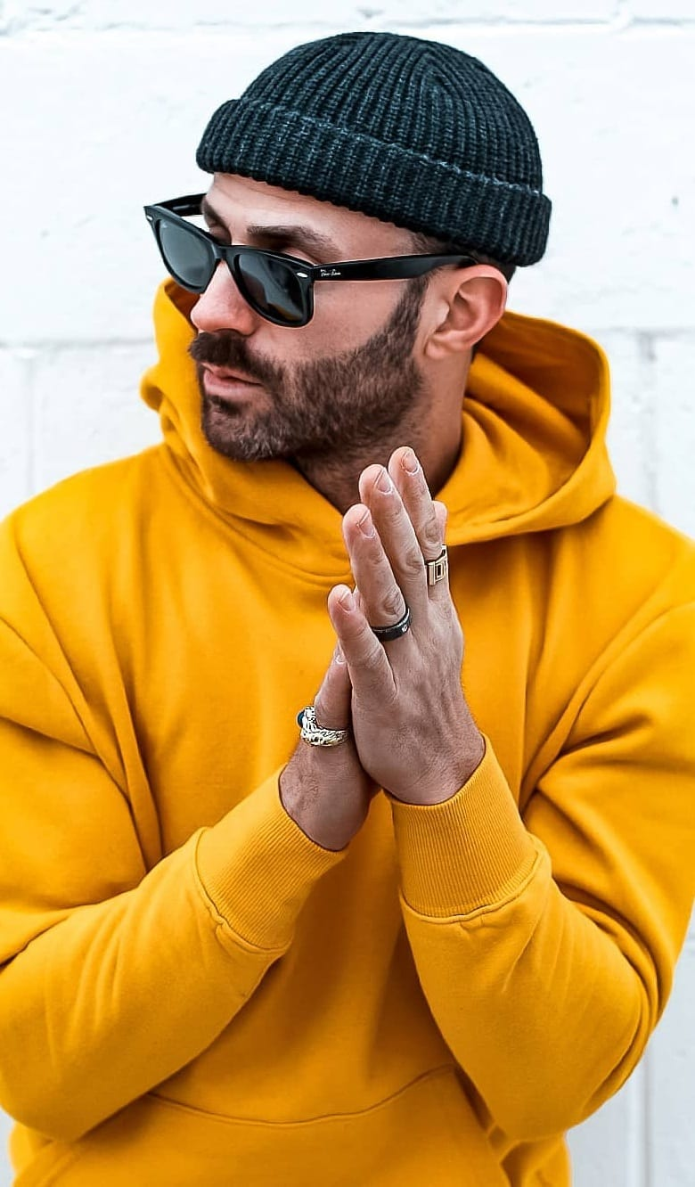 Yellow Hoodie, Beanie and Black Sunglasses- Street Style Fashion