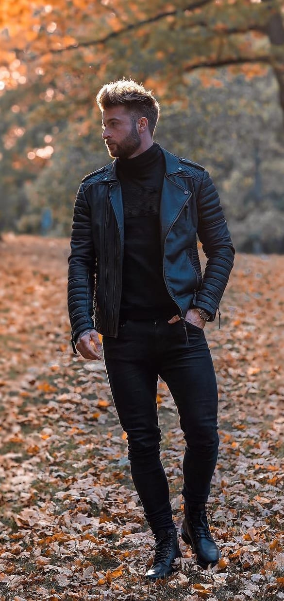 Black outfit for men to wear in autumn