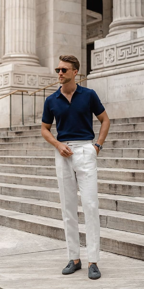 Blue Polo Neck Shirt and Chinos Smart Casual Outfit Ideas