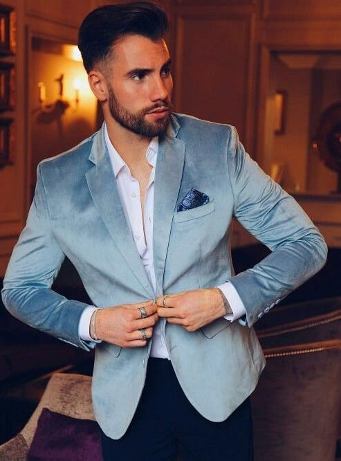 Light Blue Velvet Blazer Mens Outfit