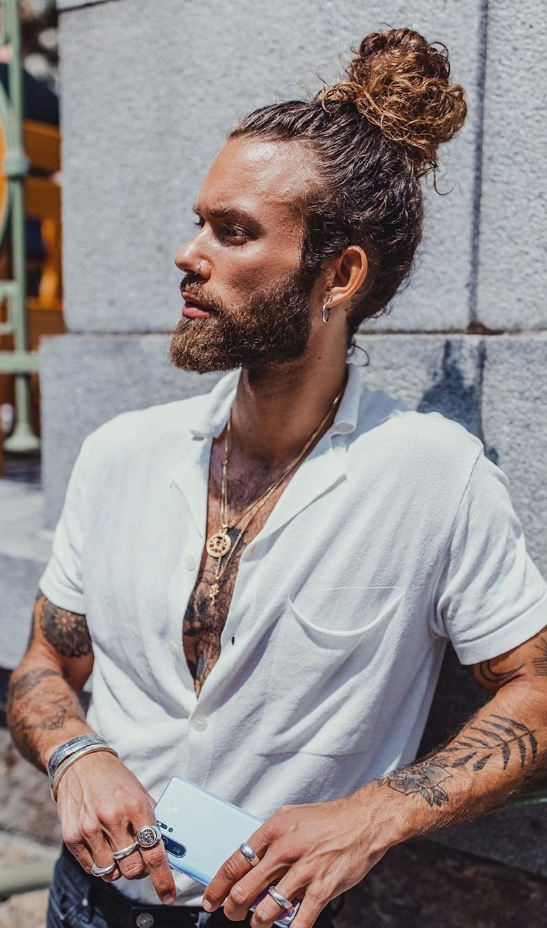 Man Bun for Long hair look